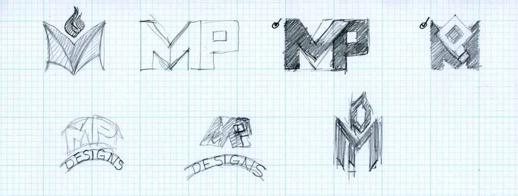 MP Designs Logo Development Process A by Alvalyn Lundgren